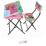 میز تحریر باکسدار و صندلی طرح توت فرنگی وایت بردی،تاشو،تنظیم شونده ارتفاع