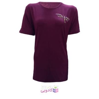 تیشرت آستین کوتاه زنانه طرح سنجاقک کد tm-850 رنگ بادمجانی