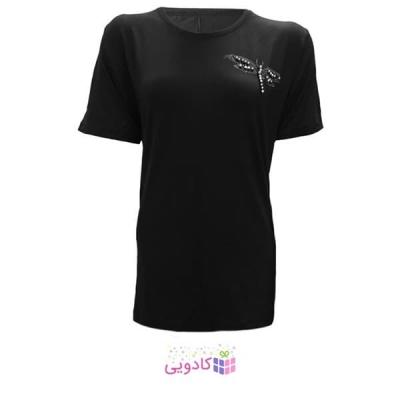 تیشرت آستین کوتاه زنانه طرح سنجاقک کد tm-850 رنگ مشکی