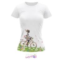 تیشرت زنانه طرح دوچرخه کد BS273