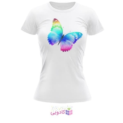 تیشرت زنانه طرح پروانه کد BS272