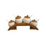ست شکر، چای و قهوه 4 تکه گرد درب چوبی