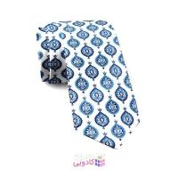 کراوات مردانه سفید و آبی سنتی